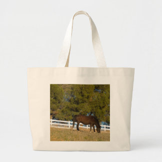 Brown Horse Grazing Large Tote Bag