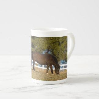 Brown Horse Grazing Tea Cup