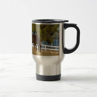 Brown Horse Grazing Travel Mug