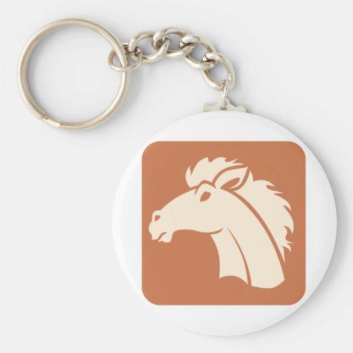 Brown Horse Icon Basic Round Button Keychain