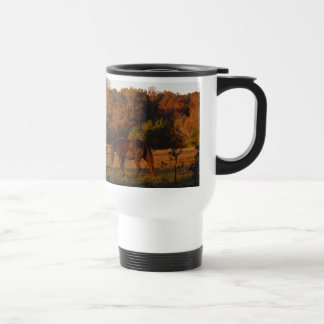 Brown horse in a Autumn feild Travel Mug