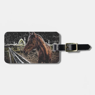 Brown horse in a field luggage tag