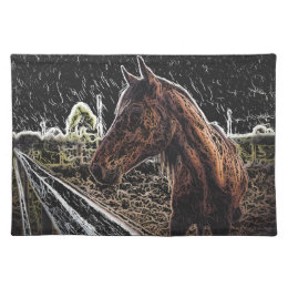 Brown horse in a field placemat