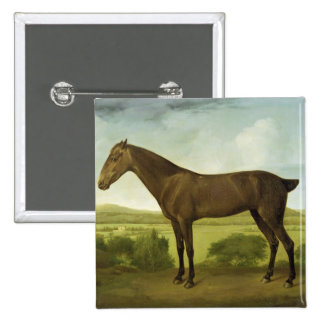 Brown Horse in a Hilly Landscape, c.1780-1800 (oil Pinback Button