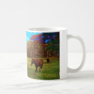 Brown Horse in a Rainbow colored field Coffee Mug