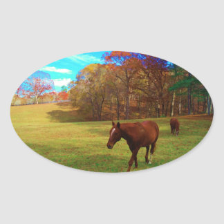 Brown Horse in a Rainbow colored field Oval Sticker