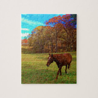 Brown Horse in a Rainbow colored field Jigsaw Puzzles