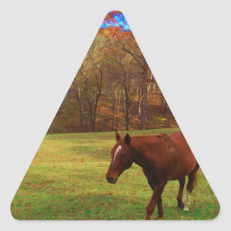 Brown Horse in a Rainbow colored field Triangle Sticker