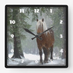 Brown Horse in a Winter Forest with Snow Falling Square Wall Clock