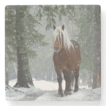 Brown Horse in a Winter Forest with Snow Falling Stone Coaster
