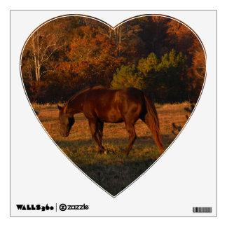 Brown Horse in an Autumn Field heart wall decal