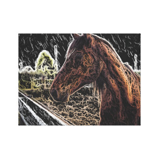 Brown Horse in Field Canvas Print