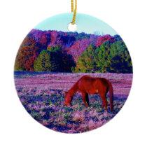 Brown horse in Purple Grass Ceramic Ornament