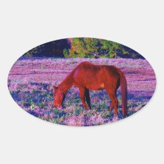 Brown horse in Purple Grass Oval Sticker