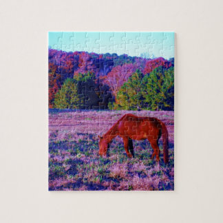 Brown horse in Purple Grass Jigsaw Puzzles