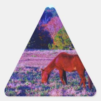 Brown horse in Purple Grass Triangle Sticker