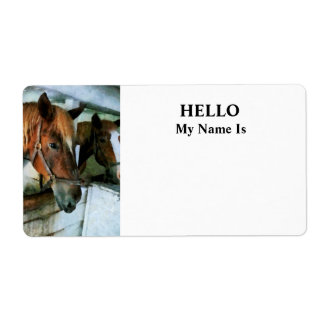 Brown Horse in Stall Label