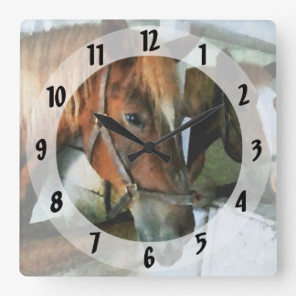 Brown Horse in Stall Square Wall Clock