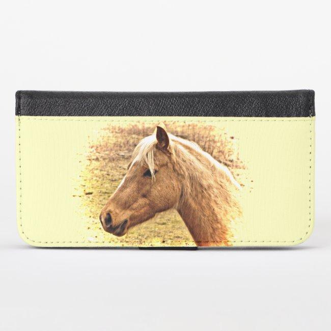 Brown Horse in Sun iPhone X Wallet Case