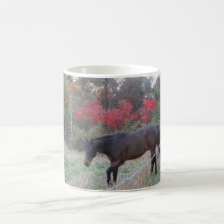 Brown horse in the red autumn trees coffee mug