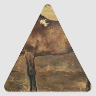 Brown Horse in the Stalls by Theodore Gericault Triangle Sticker