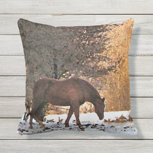 Brown Horse in Winter Animal Outdoor Pillow Zazzle