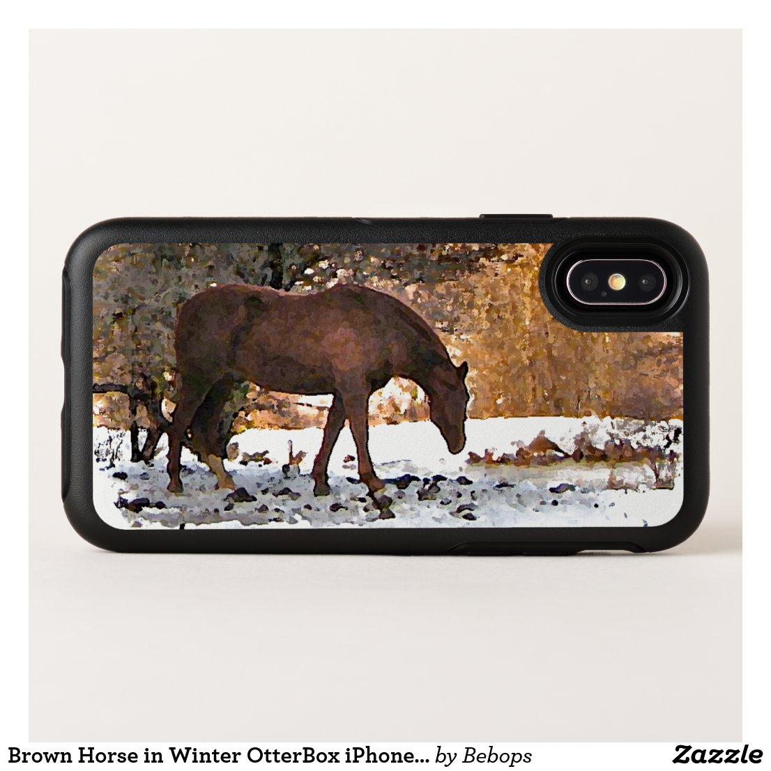Brown Horse in Winter OtterBox iPhone X Case