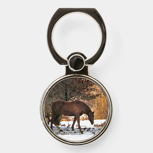Brown Horse in Winter Phone Ring Holder