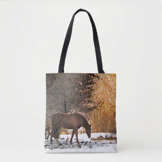 Brown Horse in Winter Snow Animal Tote Bag