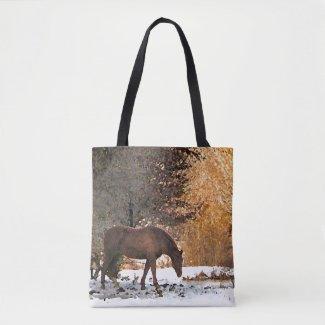 Brown Horse in Winter Snow Animal Tote Bag