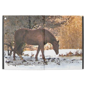 Brown Horse in Winter Snow iPad Pro Case