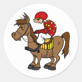 Brown Horse Jockey Classic Round Sticker