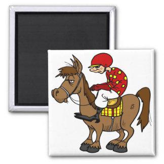 Brown Horse Jockey Magnet