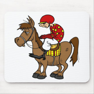 Brown Horse Jockey Mouse Pad