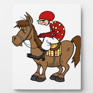 Brown Horse Jockey Plaque