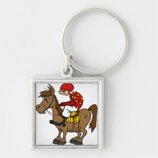 Brown Horse Jockey Silver-Colored Square Keychain