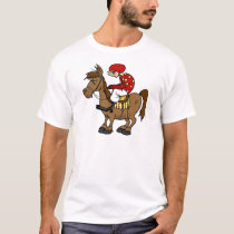 Brown Horse Jockey T-Shirt