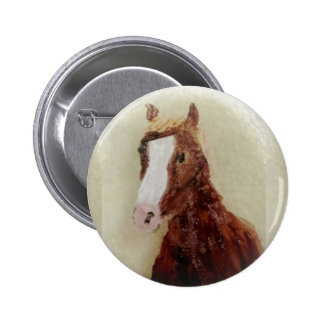 Brown Horse Painting Pinback Button