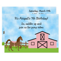 Brown Horse, Pink Barn Pony Rides Birthday Invite