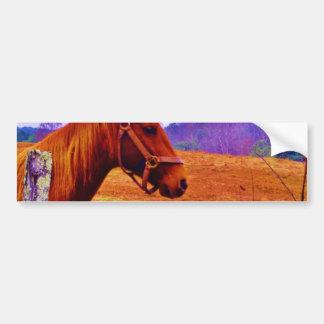 Brown horse purple tree Christmas Bumper Sticker