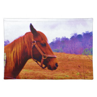 Brown horse purple tree Christmas Placemats