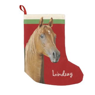 Brown Horse Red Girls Christmas Stocking Small Christmas Stocking
