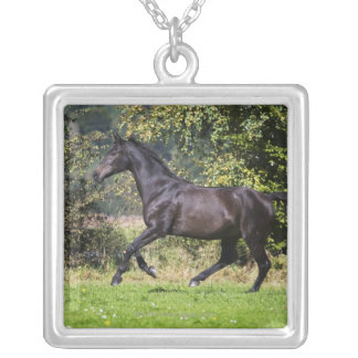 brown horse running on meadow silver plated necklace