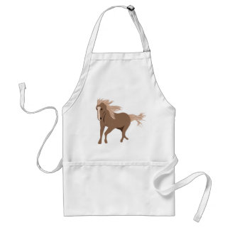 Brown Horse Running with mane & tail blowing wind Adult Apron