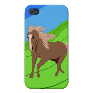 Brown Horse Running with mane & tail blowing wind iPhone 4 Covers