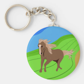Brown Horse Running with mane & tail blowing wind Keychain