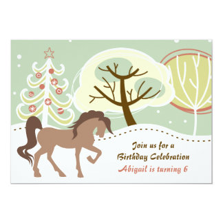 Brown Horse Snowy Winter Girls Birthday Party Card