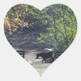 Brown Horse walking through Fence Heart Sticker