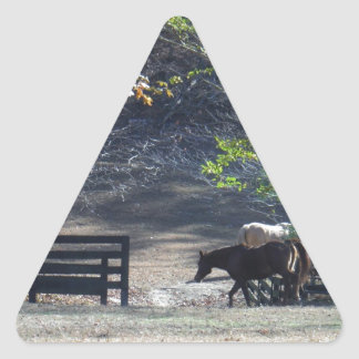 Brown Horse walking through Fence Triangle Sticker