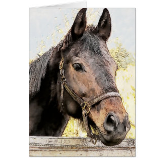 Brown Horse Watercolor Sketch Style Card